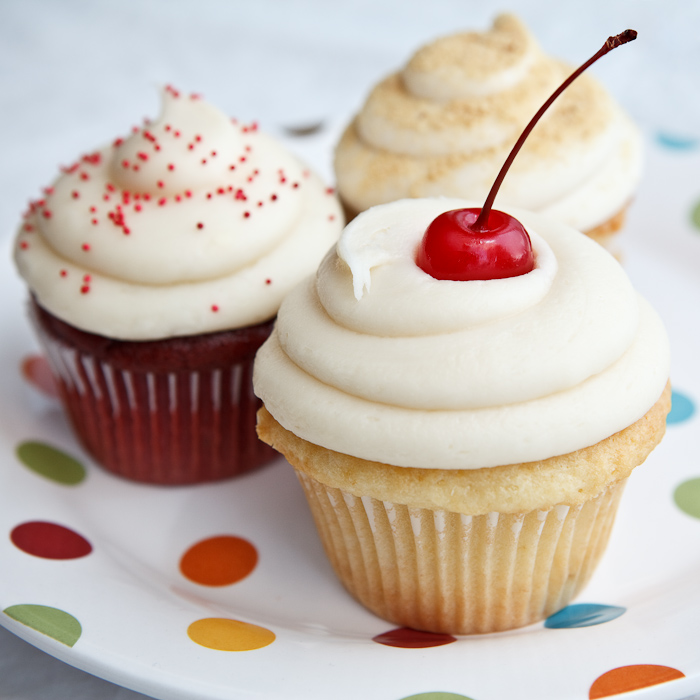cupcakes, cherry, icing, frosting, cake, food photography, sprinkles, plate