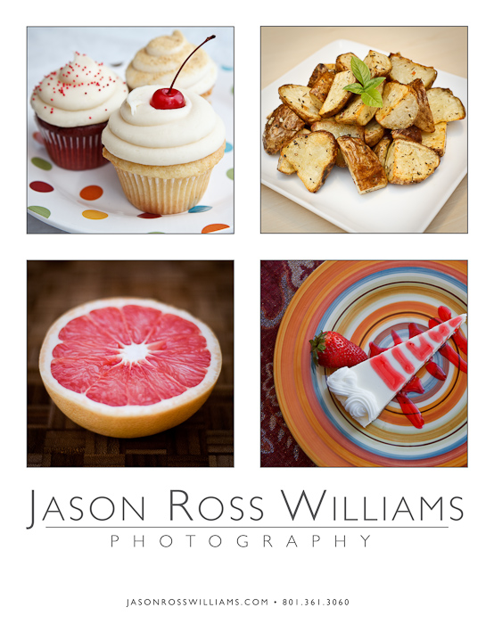 cupcakes, potatoes, grapefruit, cheesecake, cherry, strawberry, food photography, promotional card, business card