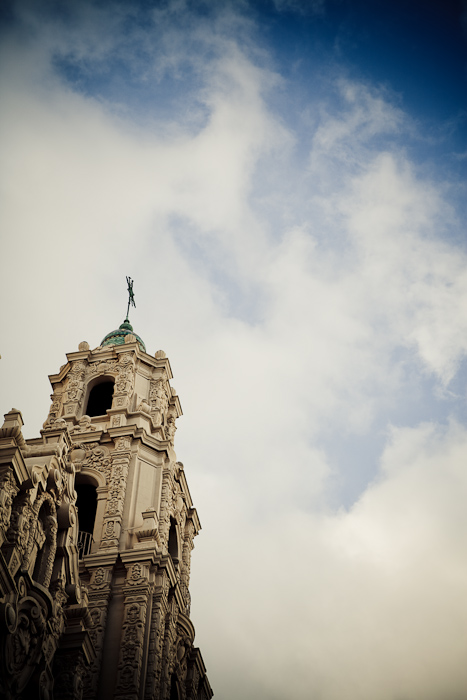 Mission Dolores, San Francisco, tower, bell, cross, sky, clouds, blue, white