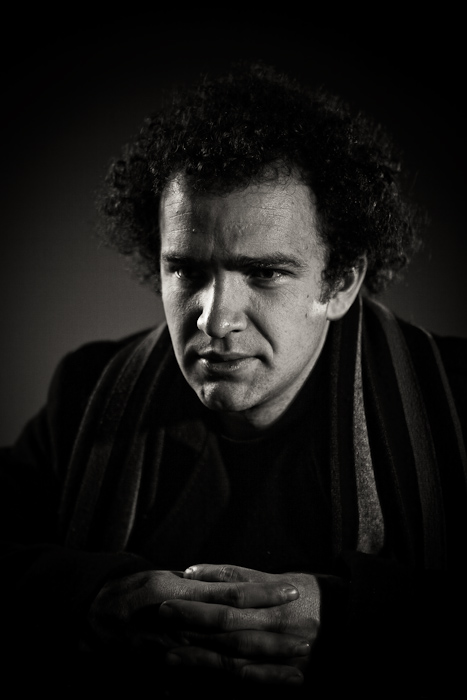 Karsh, black and white, portrait, Bryan, low-key, male, man, curly, hair