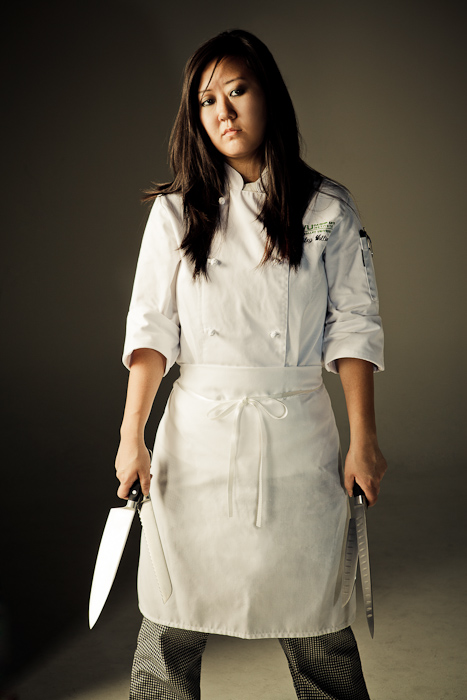 chef, cook, knives, girl, female, asian, portrait