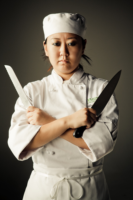 chef, cook, knives, arms, folded, girl, female, asian, portrait