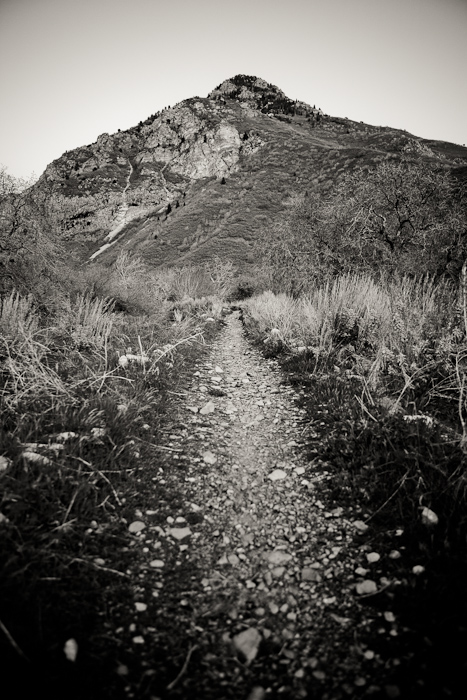 mountain, peak, sky, trail, path, nature, black, white, Rock Canyon, Provo, Utah