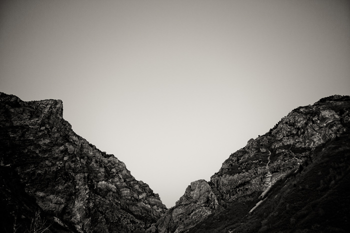mountains, peaks, valley, sky, black, white, Squaw Peak, Rock Canyon, Provo, Utah