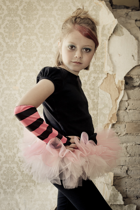 punk, princess, girl, tutu, abandoned, house, wall paper, bricks, portrait, photo, photography
