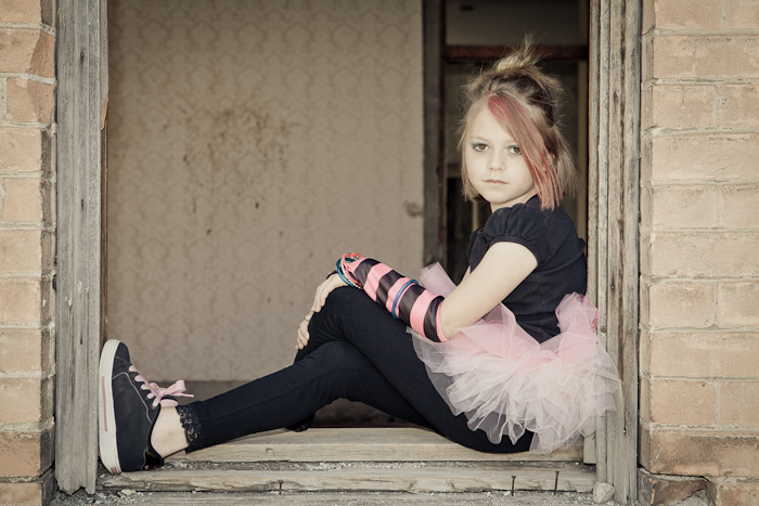 punk, princess, girl, tutu, abandoned, house, window, bricks, portrait, photo, photography