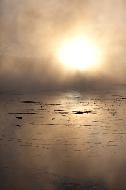 mist, Nature, reflection, sun, sunset, water, Yellowstone