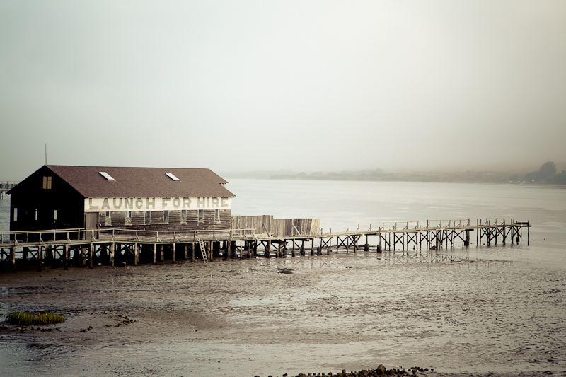 A wooden building and dock that we saw in a small coastal town near Point Reyes.