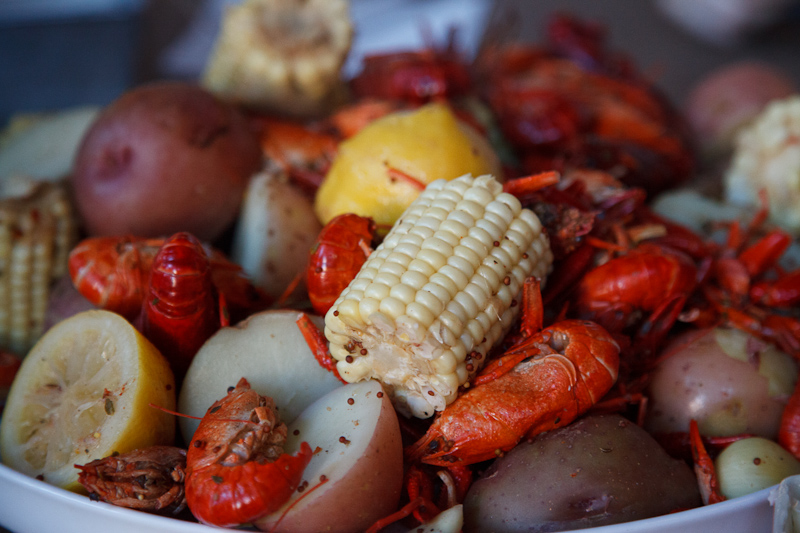 The main course was crawfish with potatoes, corn on the cob, and sausage. It was our first time having crawfish, but it was fun and tasty.