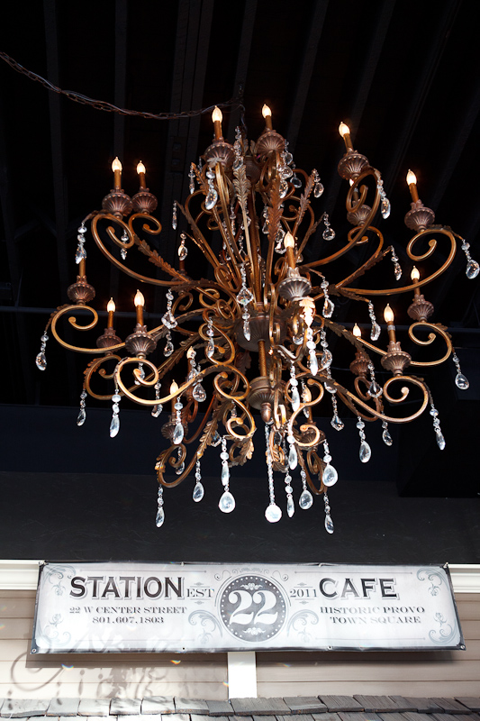 Chandelier and Station 22 Sign
