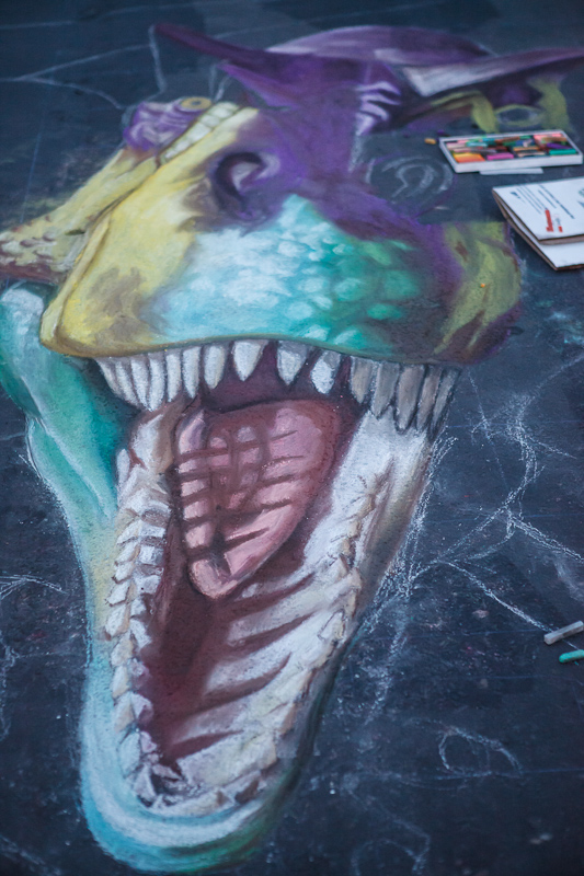 Rebecca Plesch Tyrannosaurus Rex dinosaur chalk art at Chalk The Block 2012 in Provo, UT