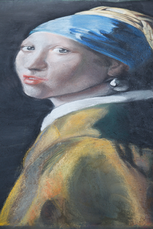 Girl With a Pearl Earring chalk art at Chalk The Block 2012 in Provo, UT