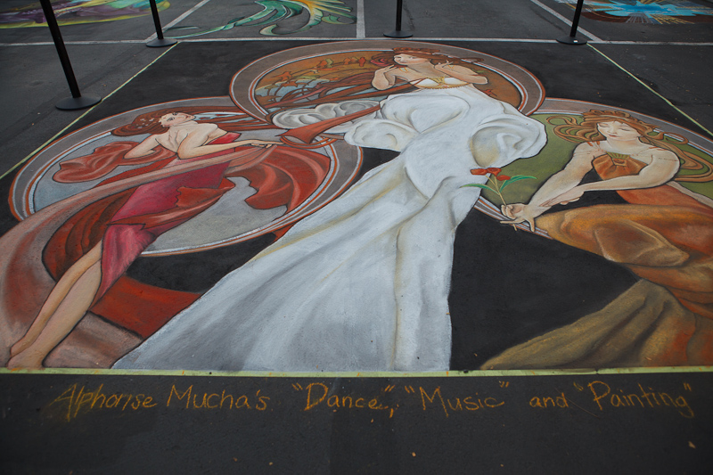 Alphonse Mucha's Dance, Music, and Painting chalk art by Dawn Morrison at Chalk The Block 2012 in Provo, UT