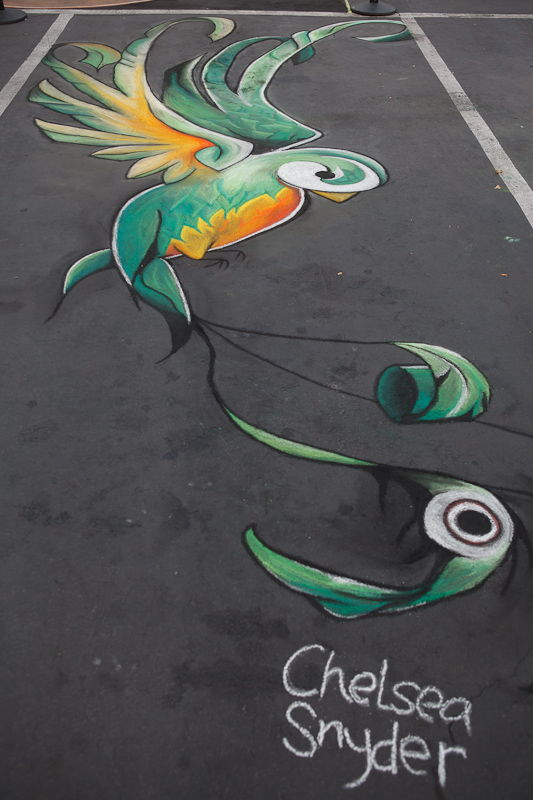 Bird by Chelsea Snyder chalk art at Chalk The Block 2012 in Provo, UT