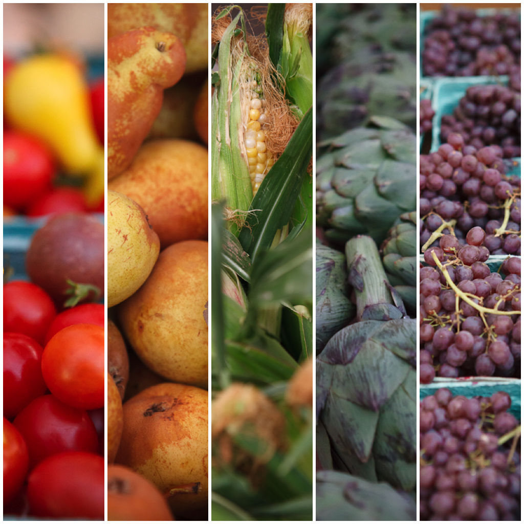 Provo Fresh Wednesday Farmers Market Rainbow of Produce Diptych in Downtown Provo