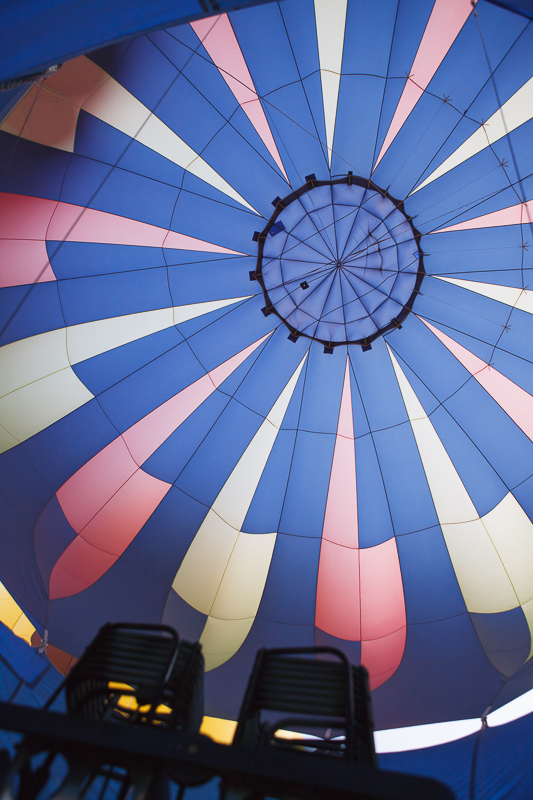 The inside of a blue hot air balloon at the Provo, Utah Freedom Festival on the 4th of July, Independence Day